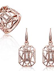 Women's Fashion 18K Rose Gold Hollow (Earrings&Rings) Jewelry Sets