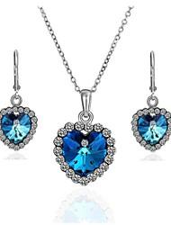 сердце формы сплава с платиновым напылением синий кристалл комплект ювелирных изделий