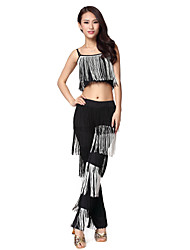 Dancewear Women's Polyester Tassels Dance Outfits(Top&Bottom)