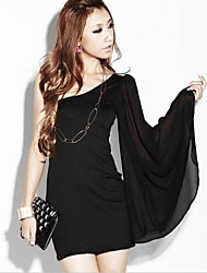 Women's Sexy Sheath Dress,Solid One Shoulder Above Knee Sleeveless Black Others Winter