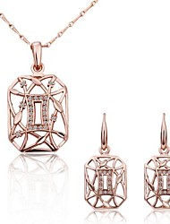 Women's Fashion 18K Rose Gold Hollow (Necklace&Earrings) Jewelry Sets