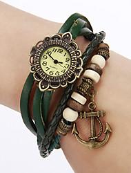 Women's Vintage Flower Dial Pu Band Quartz Analog Bracelet Watch Cool Watches Unique Watches