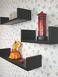 Set of 3 Modern Stylish Black Solid Storage Shelves