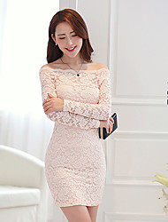 DOWISI Women's Sexy Bateau Sheath Cut Out Lace Bodycon Long Sleeve White Dress