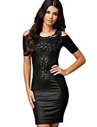 Frauen Shirt Scoop Neck weg von der Schulter, figurbetontes Kleid