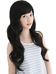 Fashion Long Curly Nature Black Synthetic Side Bang Wigs