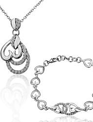 Обратный Сердце формы оловянного сплава с платиновым напылением Колье и браслет