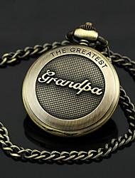 Uomo nonno Motivo della lega del bronzo di tasca del quarzo