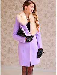 Women's Purple Coat , Casual/Party Long Sleeve Polyester/Wool Blends
