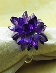 Crystal Flower Napkin Ring,  Acrylic, 3.5cm,  Set of 12