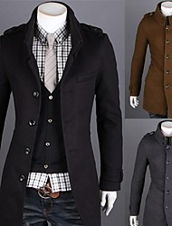 Men's Long Sleeve Trench coat , Wool Blend Pure
