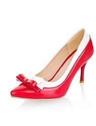 Damen Schuhe Kunstleder Sommer Herbst Stöckelabsatz Schleife Für Normal Kleid Party & Festivität Schwarz Rot