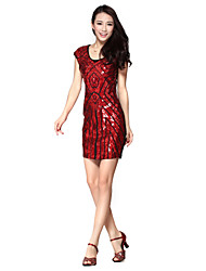 Dancewear Women's Mature Geometric Sequined Polyamide Dance Dress(More Colors)