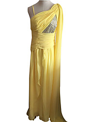 Dan'S Vintage Asymmetrical Shoulder Beads Floor-Length Dress