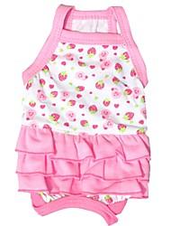 Chat / Chien Robe Rouge Rose Vêtements pour Chien Eté Fruit