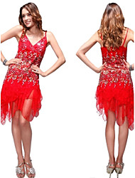 Flowing Red Lace Cocktail Dress