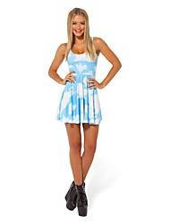Les femmes d'été Slim bleu Office Lady robe