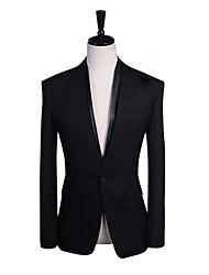 FCW Herren V Neck Solid Color Anzug Blazer (Schwarz)
