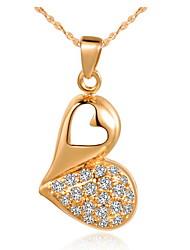 Venda quente gracioso Coração-Forma Slivery E Ouro Colar da liga (1 Pc) (Gold, Slivery)