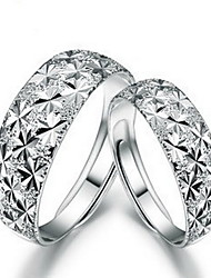 Women's Day Gift Classic Snowflake Unisex Silver Plated Couple Rings(2 Pcs)