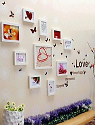 White Photo Wall Frame Collection Set of 10, with Love Wall Sticker