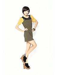 Zoely Frauen Sommer-Pan-Kragen Streifen Kontrast Farbe H-Line Kleid 101121L035