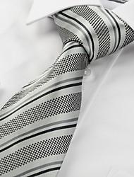 Souvenirs de New rayé gris noir classique de cravate de noce Hommes # 1049