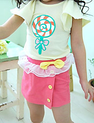 Girl's Bowknot Lace Splicing Skirts