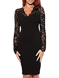 MIUSOL Women'S  V Neck Sexy  Slimming Long Sleeve Cocktail Party Dress(Black,White)