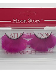 1 Pair Pro High Quality Hand Made Pink Color Feather False Eyelashes