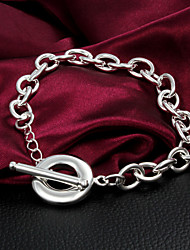 High Quality Classic Silver Silver-Plated Circle Locked Charm Bracelets