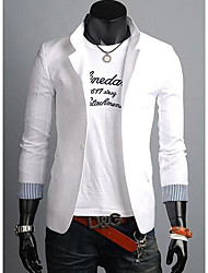 Men's Solid Casual Blazer,Cotton Blend Long Sleeve Blue / Green / Red / White / Beige / Tan