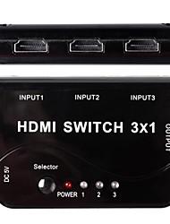 CM005 Professional Mini 3 Eingänge, 1 Ausgang HDMI Switcher w / Remote Controller - Schwarz