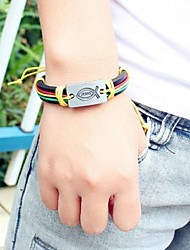 Bracciale in pelle multicolore 24 centimetri Uomo Europeo (1 Pc)