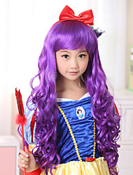 100% Kanekalon Synthetic Purple Long Wavy Children's Wig for Festival Party
