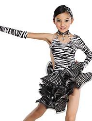 Zebra Stripe Ruffle cristal satiné Robe de danse latine pour enfants de performance