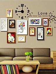 Frame Collection Negro Blanco Marrón Madera Color Foto pared Juego de 11 con un reloj de pared DIY