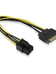 SATA de 15 pines macho M para PCI-e la tarjeta Express 6 pines hembra Tarjeta gráfica Video Cable de alimentación de 15 cm