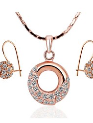Women's 8K Rose Gold Diamond Ring (Necklace&Earrings) Jewelry SetsImitation Diamond Birthstone