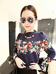 1618 Frauen Vintage-Rundhalsausschnitt-Blumendruck Puff Sleeve T-Shirt