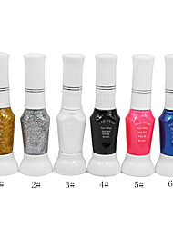 Dual-Use Nail Art Pen With Nail Polish Brush & Fine Pen Nib No.1-6(1PCS,10ml,Assorted Color)