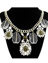 Diezhilian Moda Mujer grande de la flor de la gema del collar de 40 * 7 * 0.3cm
