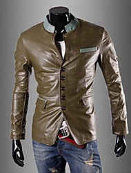 Men's Long Sleeve Casual Jacket,PU Solid Blue / Green