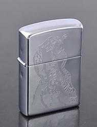 Isqueiro personalizado padrão gravado Dragão Oil Prata