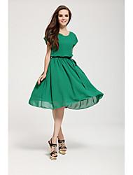 La moda de Nueva Joker vestido puro de la gasa de Mujeres Color Tikafu (verde claro)