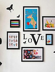 Black Photo Frame Collection Set of 06 with Butteryfly Wall Sticker