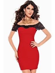 Women's Lace Red Dress , Sexy/Bodycon Off Shoulder Short Sleeve Lace