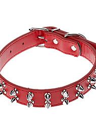 Cat / Dog Collar Adjustable/Retractable / Studded / Rivet Red / Black / Blue / Brown / Rose PU Leather