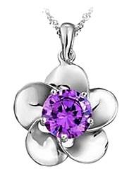 Slivery collier magnifique pendentif de femmes Platina (1 PC) (Blanc, Violet)