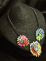 Women's Rainbow Color Flower Gemstone Crystal Pendant Necklace